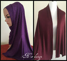 **100% COTTON JERSEY**Strech Scarf Hijab Wrap with Rhinestones border#4 160x50cm
