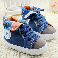 Baby Boys Blue Sport Soft Sole Crib Shoes Size 0-18 Months-B022
