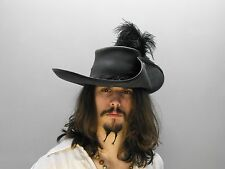 Musketeer leather hat (Black ) pirate larp renaissance medieval feather cosplay