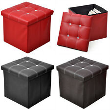 Storage Ottoman Faux Leather Collapsible Foldable Seat Foot Rest Coffee Table US