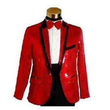 Mens Bling Sequins Tuxedo Suit&Pants Gangnam Style Psy Jacket Coat Clothes Red