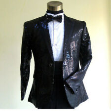 Mens Bling Sequins Tuxedo Suit&Pants Gangnam Style Psy Jacket Coat Cloth Black
