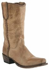 Lucchese M2602 74 Mens Pearl Tan Distressed Leather Western Cowboy Boots