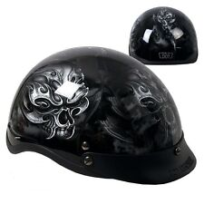 Ghostly Electric Skulls Gloss Black DOT Approved Shorty Half Motorcycle Helmet