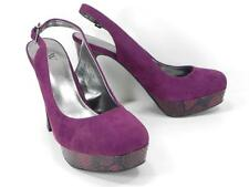 Worthington Pluto Heels Purple Faux Snake Platform Slingback Closed Toe NIB