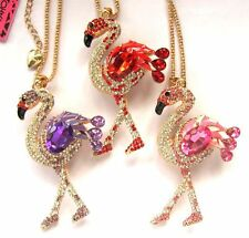 Betsey Johnson shiny crystal vivid flamingos pendant Necklace 3 COLOR #546L