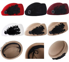 Elegant  Women lady's fleece wool Hats Feather formal hats air hostess hat caps