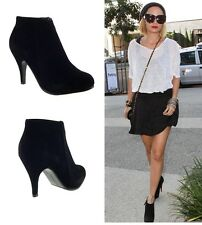 WOMENS LADIES VINTAGE STYLE BLACK MID HEEL STILETTO COURT SHOES ANKLE BOOTS SIZE