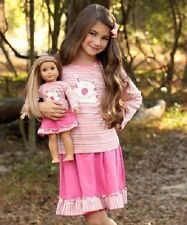Girl 10 and Doll Matching Pink Cat Outfit Clothes fit American Girl Dollie & Me