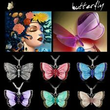 1Pc Elegant Women Fashion Crystal Painting Butterflies Silver Pendant Necklace