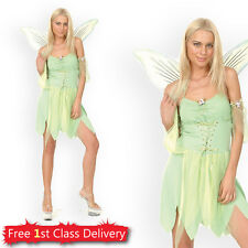 Adult Tinkerbell Costume Neverland Green Fairy Ladies Fancy Dress Outfit 10-14