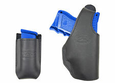 New Barsony Black Leather OWB Holster + Mag Pouch Springfield Compact 9mm 40 45