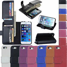 Genuine Leather Cash Card Holder Flip Stand Wallet Case Cover for Apple iPhone 6