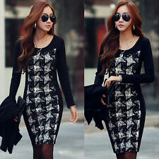 Fall Winter Women's Houndstooth Long Sleeve Dresses Slim Fit UnderSkirts Free B