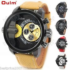 NEW OULM Fashion Mens Big Dial Leather with 2-Movt Quartz Wrist Watch Timepiece