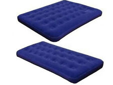 NEW SINGLE / DOUBLE MATTRESS FLOCKED AIRBED CAMPING RELAXING LUXURY INFLATABLE