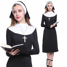 Womens Ladies Nun Costume Medival Religion Fancy Dress Role Play Party Costume