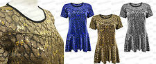 Ladies Peplum NEW Plus Size Lined Party Sparkle Sleeve Pattern Evening Top 14-28