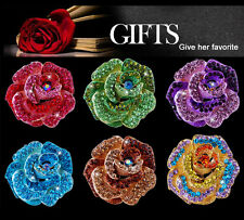 Crystal Rose Flower Wedding Bridal Rhinestone Bouquet Colorful Brooch Pin Gifts