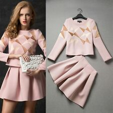 2014 new arrival occident Classic fashion runway shows Top+skirts suits
