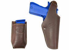New Barsony Brown Leather OWB Holster + Mag Pouch FN, Glock Full Size 9mm 40 45