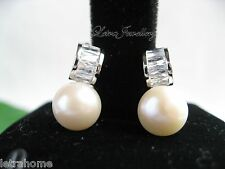 AAA 8-9mm White Cream Real Freshwater Pearl Stunning Unique Stud Earrings Gifts