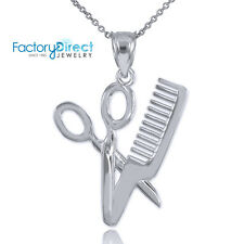 White Gold Scissor and Comb Pendant Necklace Barber Shop Hair Salon Charm