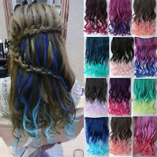 Wavy Curly 3/4 Full Head Clip in Hair Extension One Piece 5 Clips Ombre Color