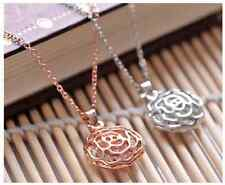 "Fashion Hollow out ""Rose"" Rose Gold/Silver GP Cubic Zirconia Pendant Necklace"
