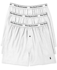 Polo Ralph Lauren Classic Cotton Three 3 Knit Boxer Shorts White with Black Logo