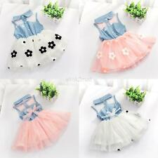 Children Baby Kids Girls Princess Dress Denim Shirt Tulle Tutu Skirt Clothes E31