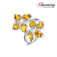 Attractive Charm Water Drop Honey Brazil Citrine Gemstone Silver Ring Size 7 8 9