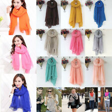 New Lady Women's Long Solid colors Scarf Wraps Shawl Stole Soft Scarves 20 Color