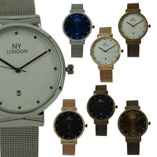 Ladies Womens NY London Girls Cool Gift Mesh Bracelet Date Watch For Her PI-7263