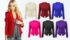 Womens New Long Sleeve Ruched Blazer Button Front Fit Jacket Panel Slim Top 8-14