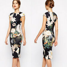 Women Sexy Bodycon Slim Stretch Floral VTG Party Cocktail Pencil Wiggle Dress R
