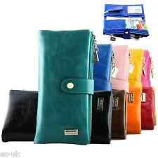 WOMENS LADIES OIL WAX STYLE FAUX LEATHER PURSE WALLET CARD HOLDER ZIP SECTION