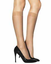 CAPRICE Sheer Knee High Socks Extra Elastane SHINY Black Beige 20 Denier 2 Pair