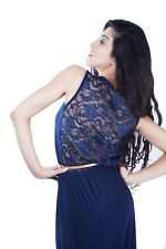Women Sexy Lace Back Maxi Dress With Belt in Navy Size 6-10 in Soft Touch