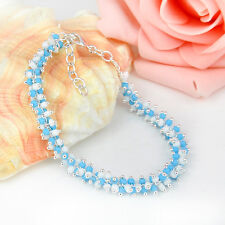 """HOT Sale ! Charming Women 925 Sterling Silver Plated Bracelet For Xmas Gift 8"""""""