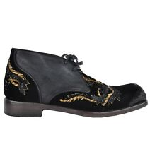 DOLCE & GABBANA RUNWAY Baroque Gold Boots Shoes Black Bottes Chaussures 02972