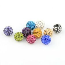 10mm Perles Shamballa Ronde Strass Cristal Couleur au Choix Disco Lot de 10 Pcs