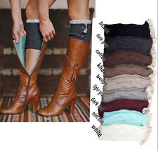 Lady's Fashion Crochet Knitted Lace Trim Boot Cuffs Toppers Leg Warmers Socks