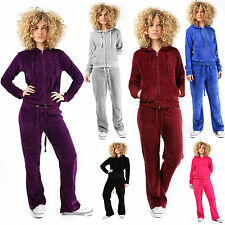Womens VELOUR TRACKSUIT Pockets Jogging Suit Cosy Lounge Sexy Hooded Ladies