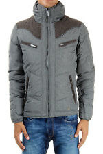 DIESEL men grey long sleeves padded jacket wool inserts and finishing details