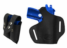 NEW Barsony Black Leather Pancake Gun Holster + Mag Pouch Walther, SIG 22 25 380