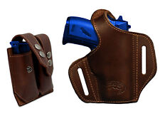 NEW Barsony Brown Leather Pancake Gun Holster + Mag Pouch Walther, SIG 22 25 380