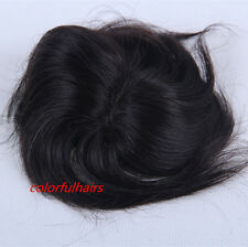 Hand Tied Top Piece man woman 100% human hair clips removable Black Brown CHOICE