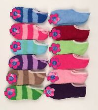 Peds Fuzzy Chenille Cozy Warm Soft Ankle Slipper On Socks Size 9-11 CUTE