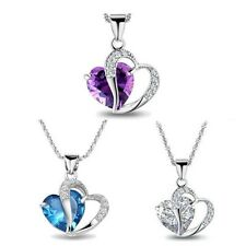 Fashion Jewelry Swarovski Love Heart Crystal Rhinestone Pendant Necklace Chain